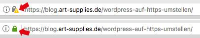 https-Status in der Adresszeile des Browsers - WordPress auf HTTPS umstellen